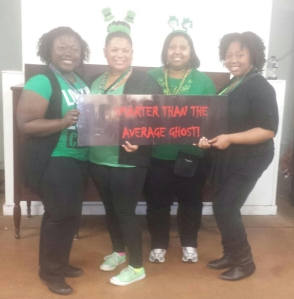 My sisters and I after we escaped the haunted room.